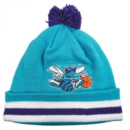 Mitchell & Ness Charlotte Hornets NBA Cuffed Knit Beanie Hat w/ Pom