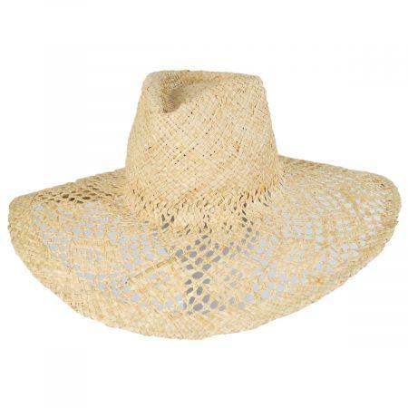 Floral Brim Raffia Straw Fedora Hat
