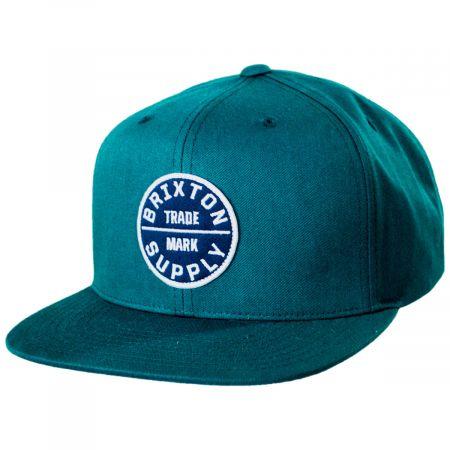 Brixton Hats Oath III Pine Green Cotton Blend Snapback Baseball Cap