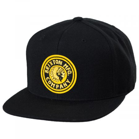 Brixton Hats Rival Black/Gold Wool Blend Snapback Baseball Cap