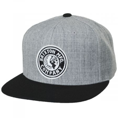 Brixton Hats Rival Gray/Black Wool Blend Snapback Baseball Cap