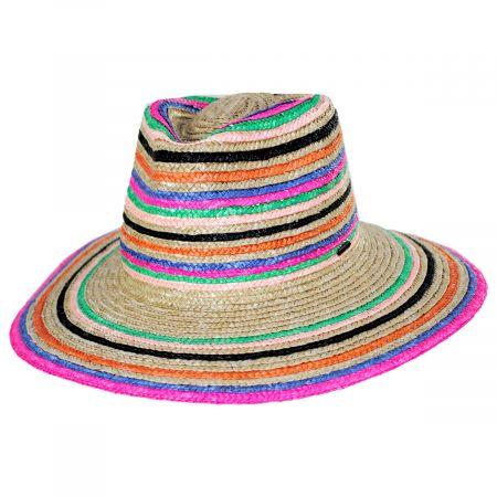Brixton Hats Joanna Striped Wheat Straw Fedora Hat