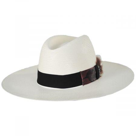 Rossion Wide Brim Toyo Straw Fedora Hat