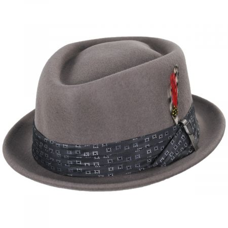 Brixton Hats Stout Gray Wool Felt Diamond Crown Fedora Hat