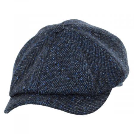 Wigens Caps Magee Navy Blue Tweed Lambswool Newsboy Cap
