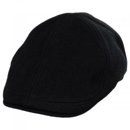 Melton Black Pub Wool Duckbill Cap
