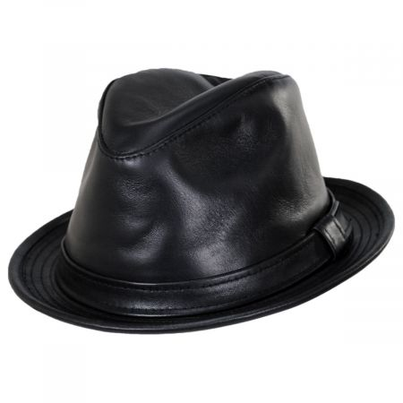 New York Hat Company Lambskin Leather Fedora Hat