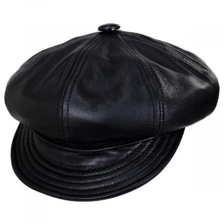 New York Hat Company Spitfire Lambskin Leather Newsboy Cap