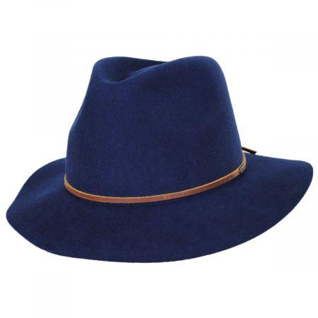 Brixton Hats Wesley Navy Blue Wool Felt Fedora Hat