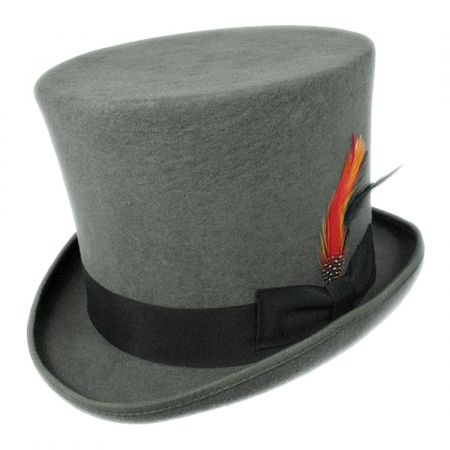Victorian Gray Wool Felt Top Hat