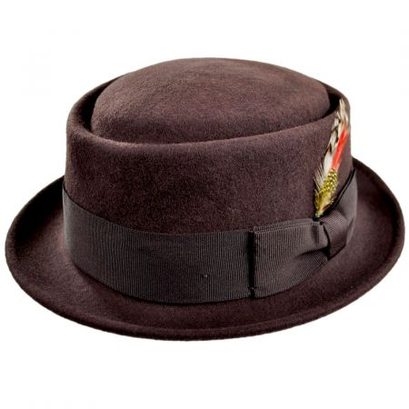 Jaxon Hats Crushable Brown Wool Felt Pork Pie Hat