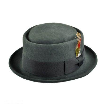 Jaxon Hats Crushable Gray Wool Felt Pork Pie Hat