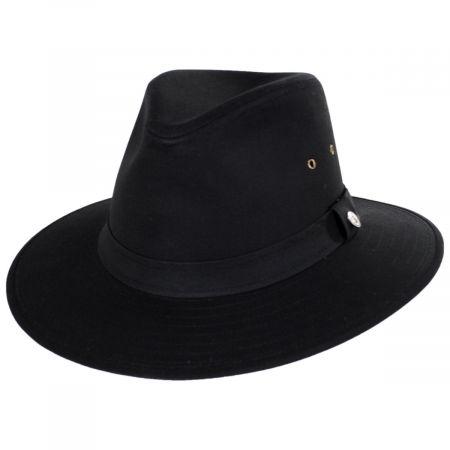 Jaxon Hats Black Cotton Oilcloth Safari Fedora Hat