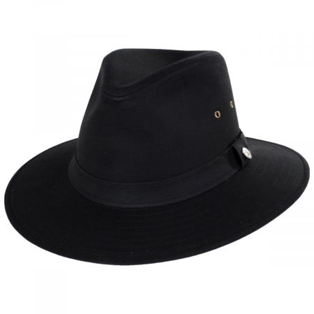 Black Cotton Oilcloth Safari Fedora Hat alternate view 9