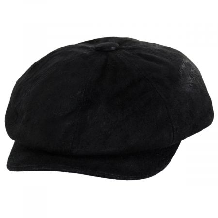 Black Leather Newsboy Cap