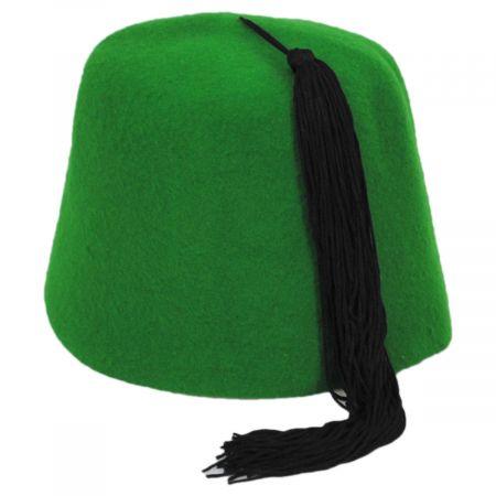 Green Wool Fez with Black Tassel