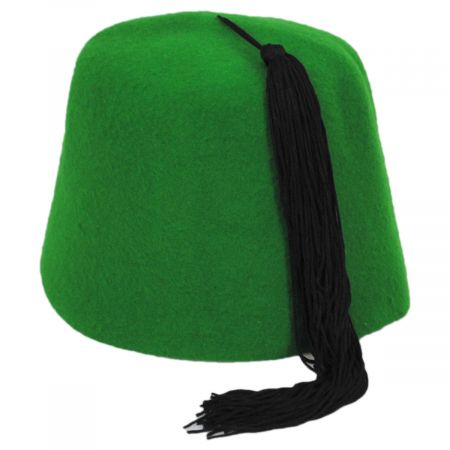 Village Hat Shop Green Wool Fez with Black Tassel
