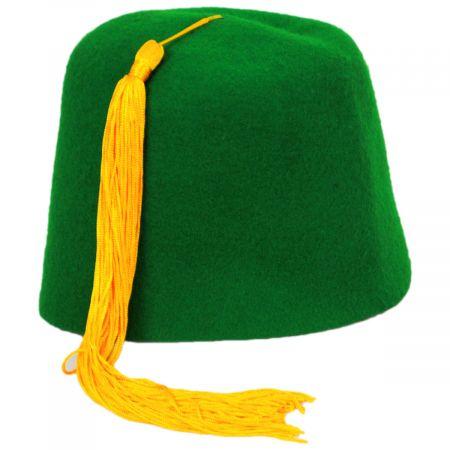 Village Hat Shop Green Wool Fez with Gold Tassel