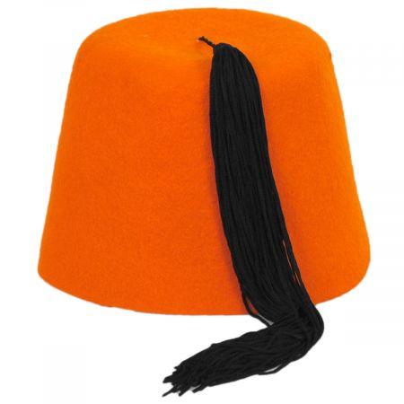Village Hat Shop Orange Wool Fez with Black Tassel