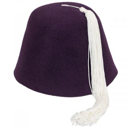 Village Hat Shop Purple Wool Fez with White Tassel