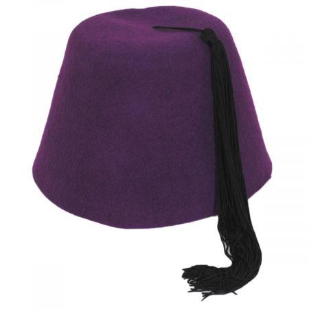 Purple Wool Fez with Black Tassel