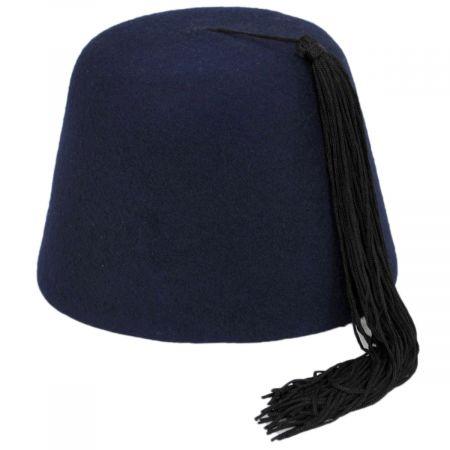 Village Hat Shop Navy Blue Wool Fez with Black Tassel