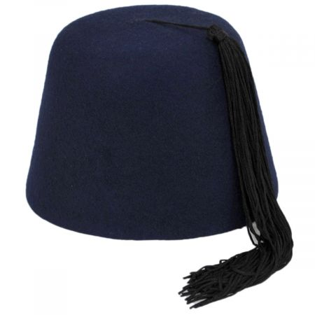 Navy Blue Wool Fez with Black Tassel alternate view 10