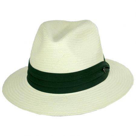 Toyo Straw Safari Fedora Hat - Green Band