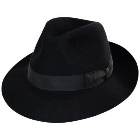 Borsalino Alessandria Shaved Black Fur Felt Fedora Hat
