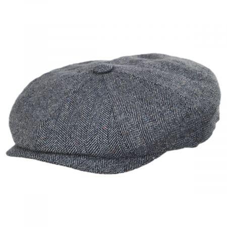 Herringbone Navy/Gray Silk Newsboy Cap