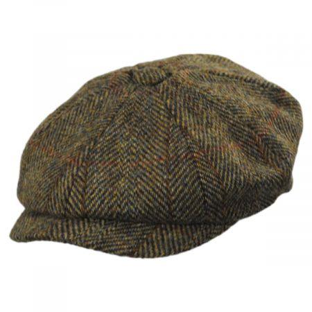 Failsworth Carloway Harris Tweed Wool Overcheck Herringbone Newsboy Cap