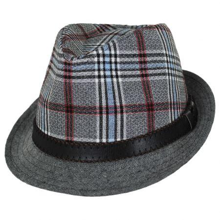 Stacy Adams Roy Plaid Cotton Trilby Fedora Hat