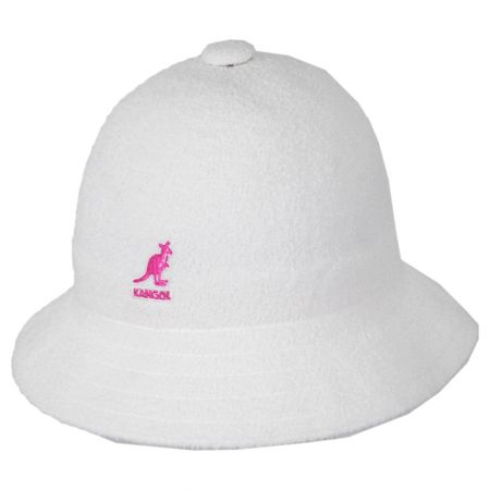 White Pink Terry Cloth Bermuda Casual Bucket Hat