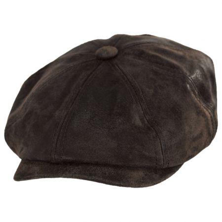 Pigskin Distressed Leather Newsboy Cap alternate view 5