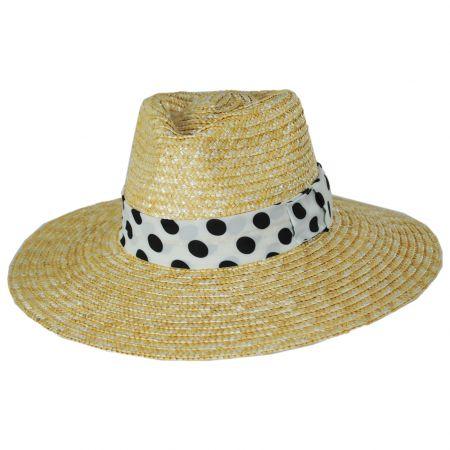 Joanna Polka Dot Wheat Straw Fedora Hat