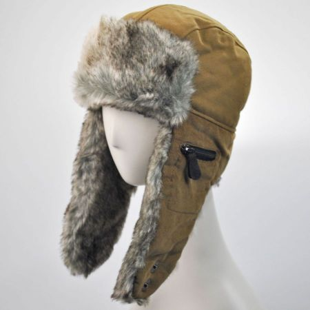 Aviator Corduroy and Canvas Trapper Hat