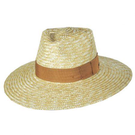 Joanna Natural/Taupe Wheat Straw Fedora Hat