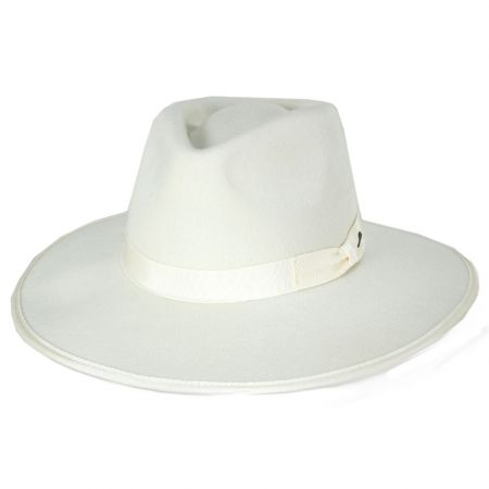 Jo Off White Wool Felt Rancher Fedora Hat