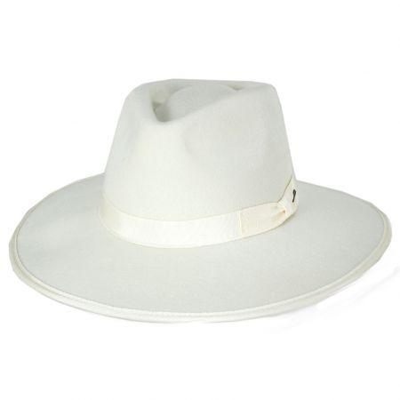 Brixton Hats Jo Off White Wool Felt Rancher Fedora Hat