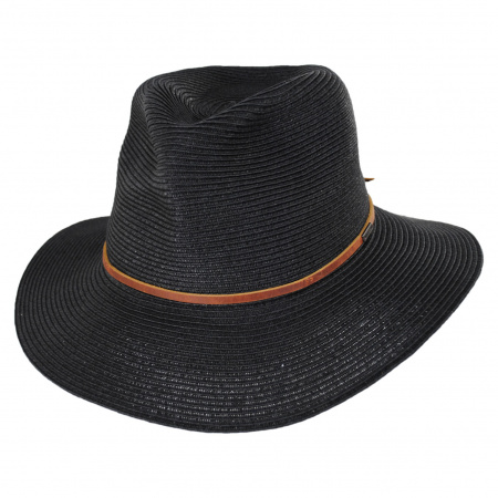 Wesley Black/Brown Braided Toyo Straw Fedora Hat alternate view 5