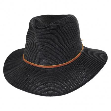 Wesley Black/Brown Braided Toyo Straw Fedora Hat alternate view 13