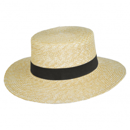 Spencer Wheat Straw Suede Band Boater Hat