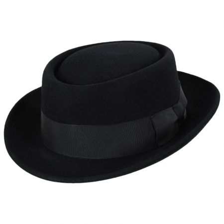 Mickey Black Fur Felt Pork Pie Hat