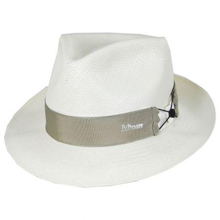 Biltmore Cassatt Bleach Reversible Band Grade 8 Panama Straw Fedora Hat