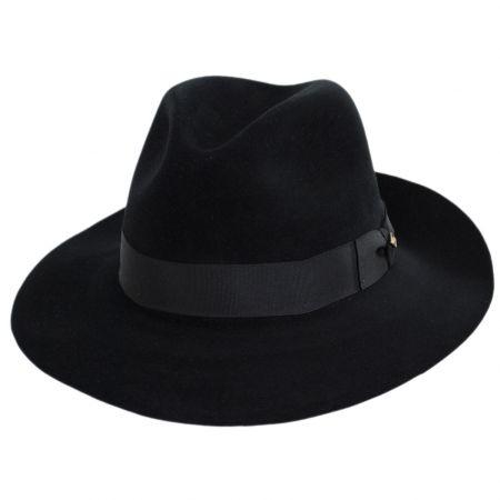 Stetson Obsidian Beaver/Chinchilla Fur Felt Fedora Hat and Traveling Case