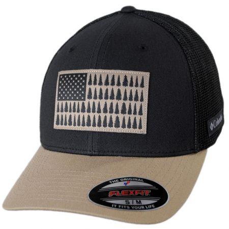 Columbia Sportswear Tree Flag Natural/Navy Mesh Flexfit Fitted Baseball Cap