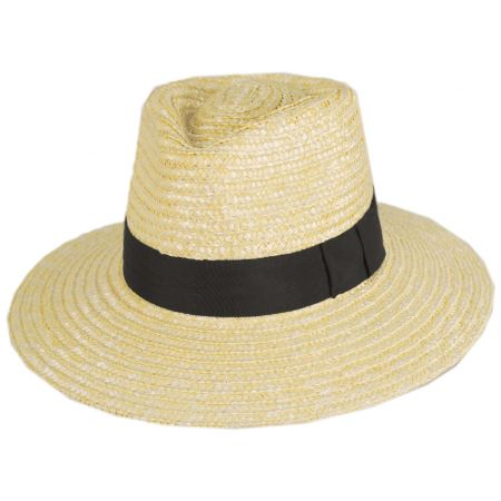 Joanna Petite Brim Wheat Straw Fedora Hat