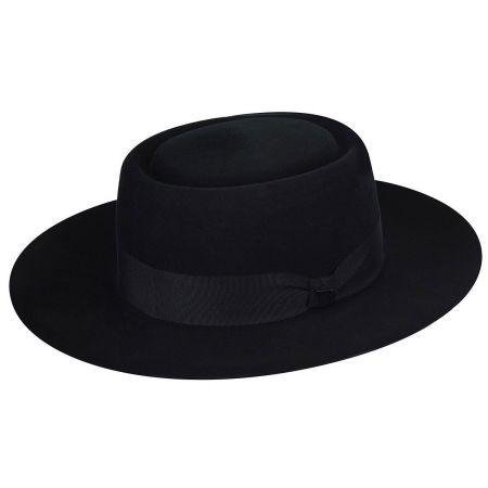 Walsh Polished Wide Brim Wool Felt Pork Pie Hat