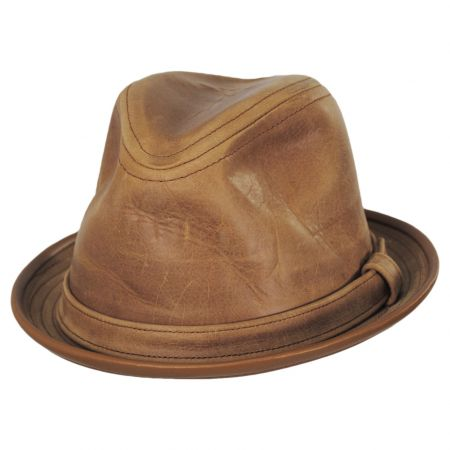 New York Hat Company Vintage Leather Fedora Hat