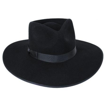 Rancher Black Wool Felt Fedora Hat